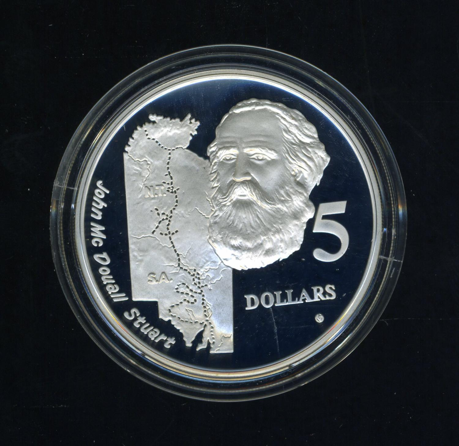 Thumbnail for 1994 Australian $5 Silver Coin From Masterpieces in Silver Set - John McDouall Stuart.  The Coin is Sterling Silver and contains over 1oz of Pure Silver.