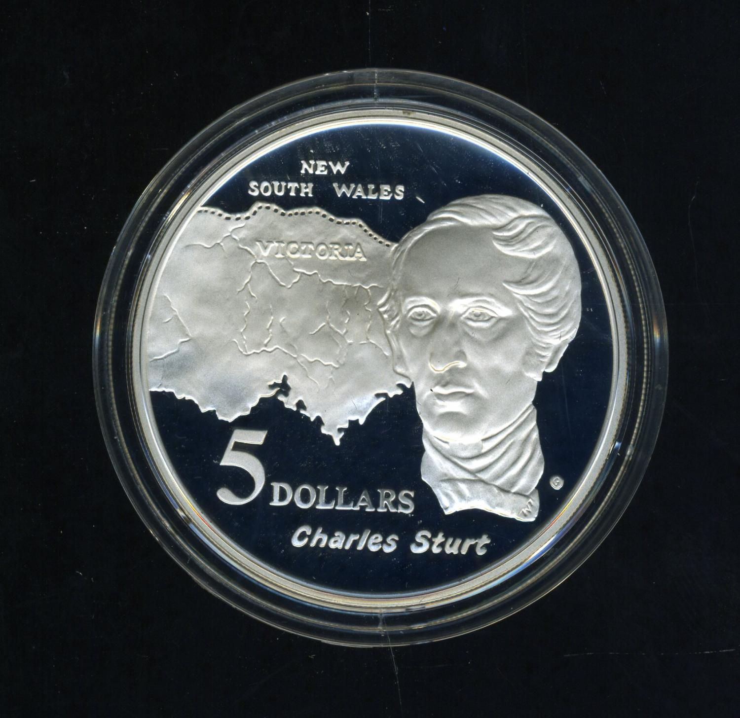 Thumbnail for 1994 Australian $5 Silver Coin From Masterpieces in Silver Set - Charles Sturt.  The Coin is Sterling Silver and contains over 1oz of Pure Silver.