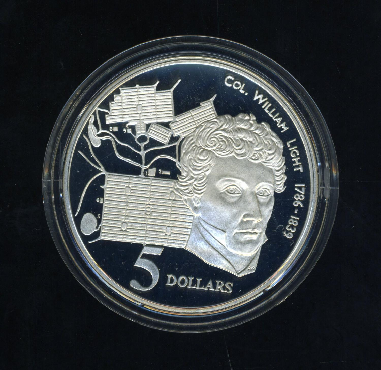 Thumbnail for 1995 $5.00 Silver Proof Coin in Capsule from Masterpieces in Silver Set - Col. William Light