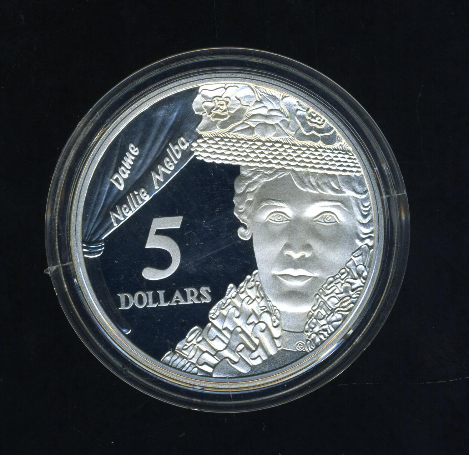 Thumbnail for 1996 Australian $5 Silver Coin From Masterpieces Set - Dame Nellie Melba.  The Coin is Sterling Silver and contains over 1oz of Pure Silver.