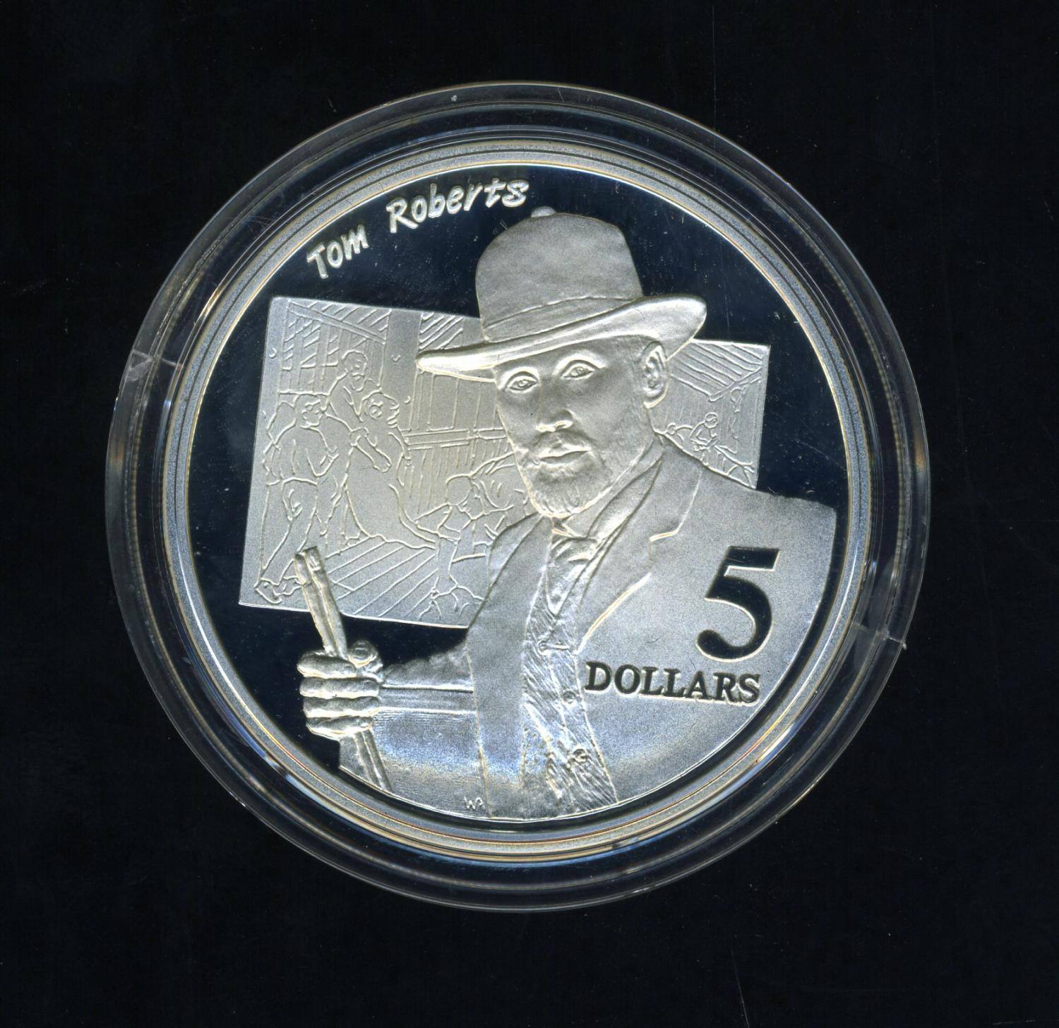 Thumbnail for 1996 Australian $5 Silver Coin From Masterpieces Set - Tom Roberts.  The Coin is Sterling Silver and contains over 1oz of Pure Silver.
