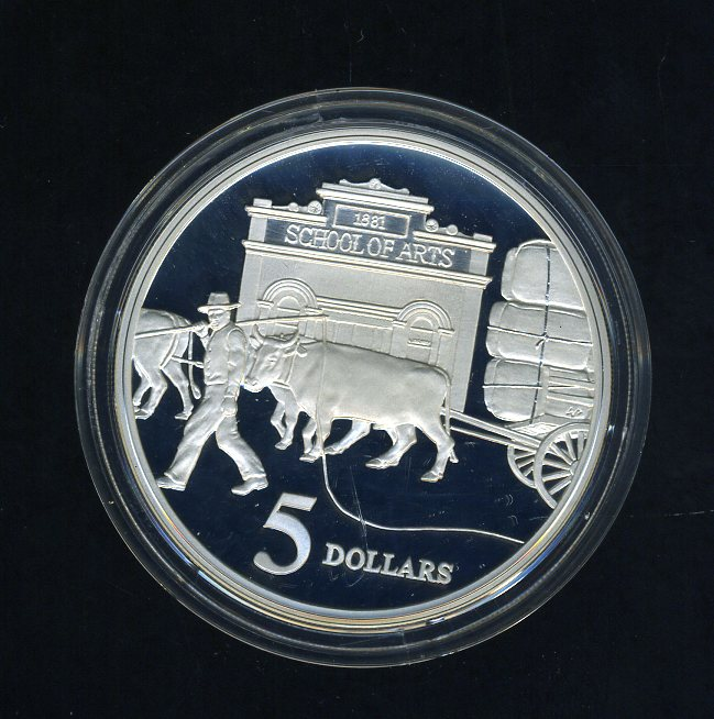Thumbnail for 1997 Australian $5 Silver Coin from Masterpieces in Silver Set - Bullocks.  The Coin is Sterling Silver and contains over 1oz of Pure Silver.
