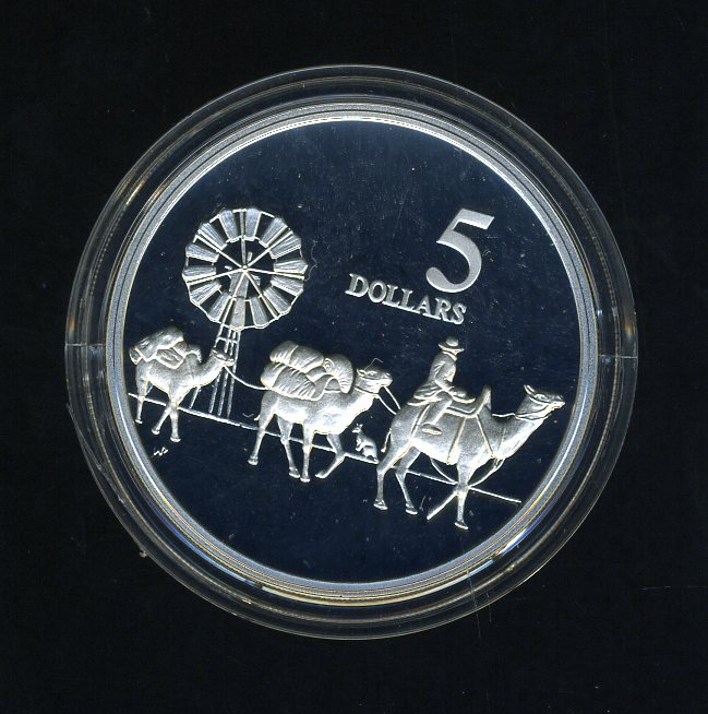 Thumbnail for 1997 Australian $5 Silver Coin from Masterpieces in Silver Set - Camels.  The Coin is Sterling Silver and contains over 1oz of Pure Silver.
