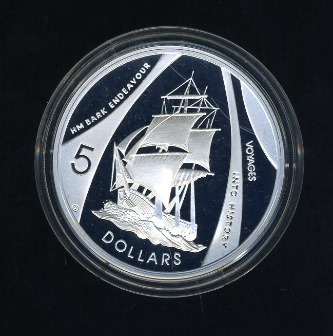 Thumbnail for 2002 Australian $5.00 Silver Coin from Masterpieces in Silver Set - HM Bark Endeavour.  The Coin is .999 Silver.