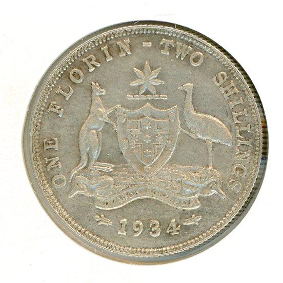 Thumbnail for 1934 Australian Florin gVF