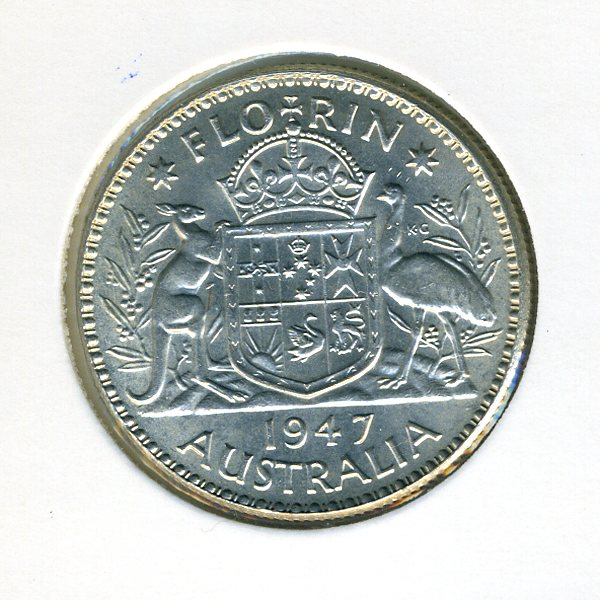 Thumbnail for 1947 George VI Florin - good EF