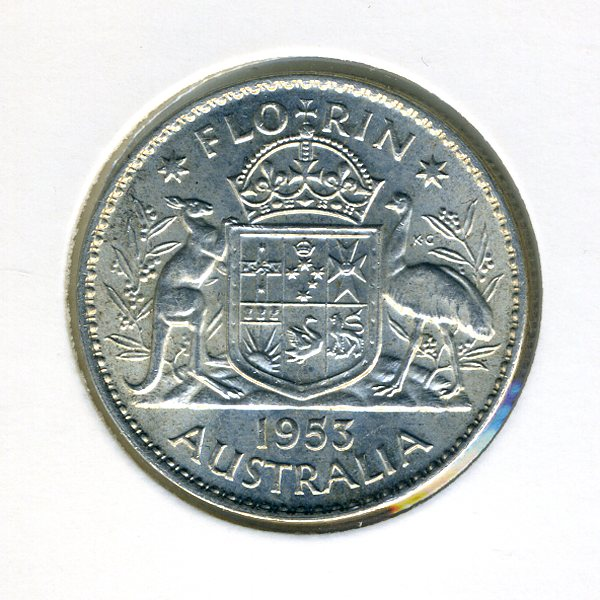 Thumbnail for 1953 Australian Florin - good EF