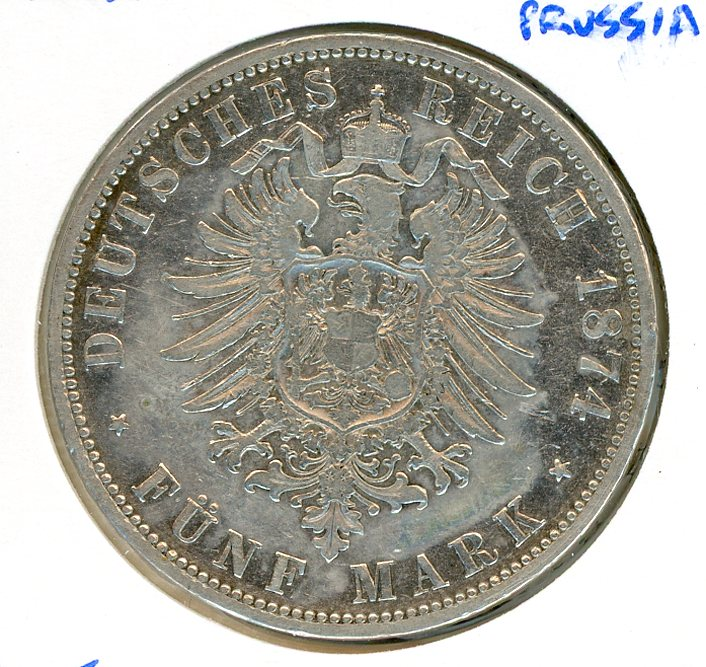 Thumbnail for 1874A Prussia Silver Five Marks VF