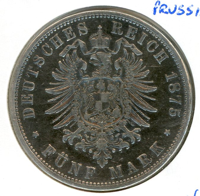 Thumbnail for 1875B Prussia Silver Five Marks VF