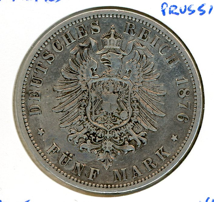 Thumbnail for 1876B Prussia Silver Five Marks VF