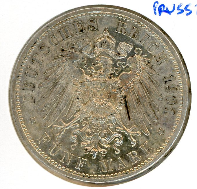 Thumbnail for 1901A Prussia Silver Five Marks aUNC