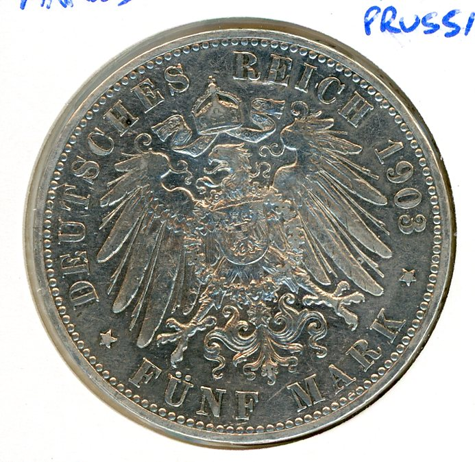 Thumbnail for 1903A Prussia Silver Five Marks VF