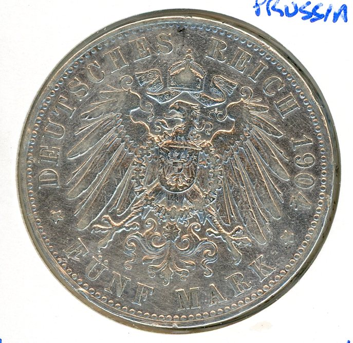 Thumbnail for 1904A Prussia Silver Five Marks VF