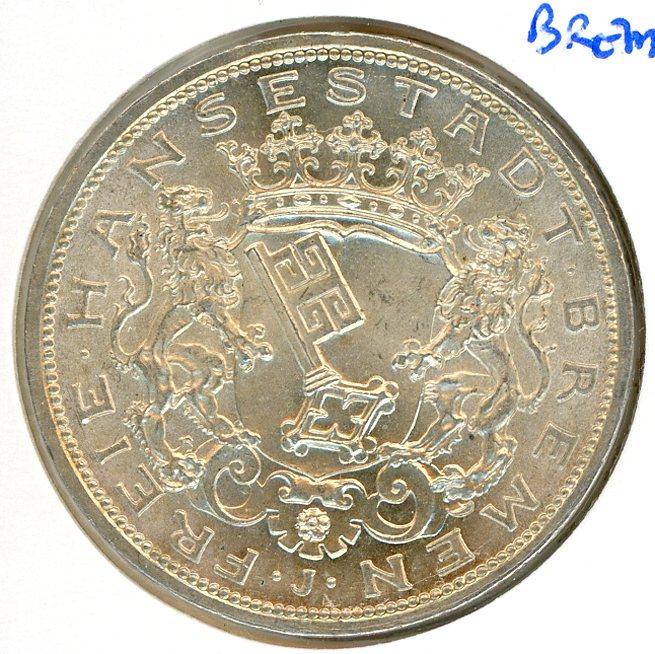 Thumbnail for 1906J Bremen Silver Five Marks UNC