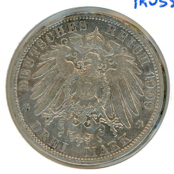 Thumbnail for 1909A Prussia Silver Three Marks VF