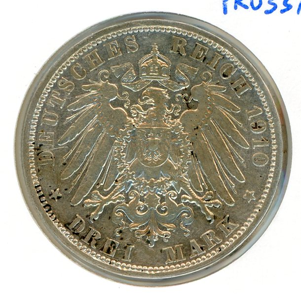 Thumbnail for 1910A Prussia Silver Three Marks VF