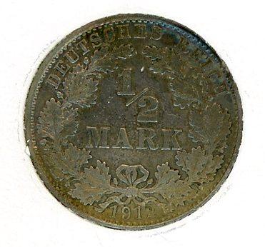 Thumbnail for 1912D German Silver Half Mark gVF