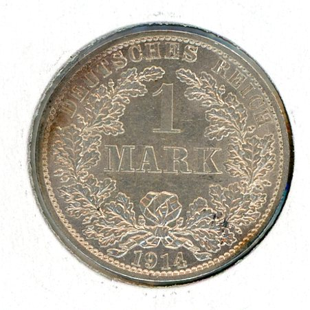 Thumbnail for 1914A German Silver One Mark aUNC