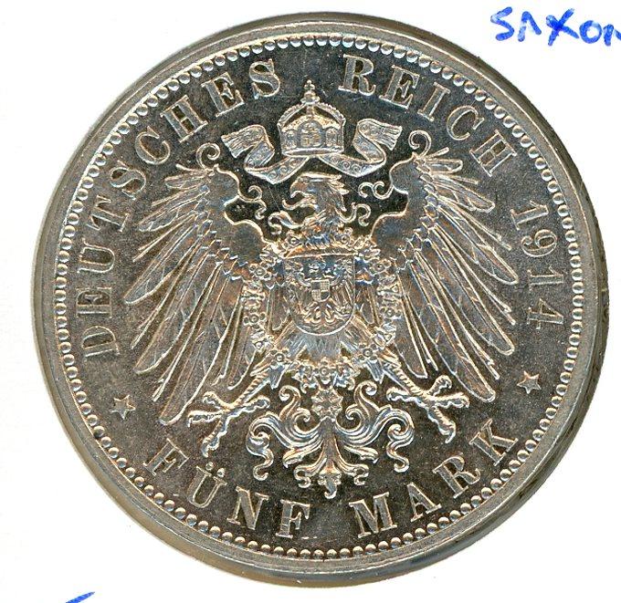 Thumbnail for 1914E Saxony Silver Five Marks EF