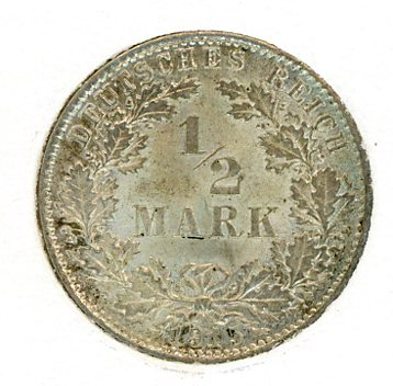 Thumbnail for 1915D German Silver Half Mark aUNC