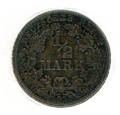 Thumbnail for 1915E German Silver Half Mark aUNC