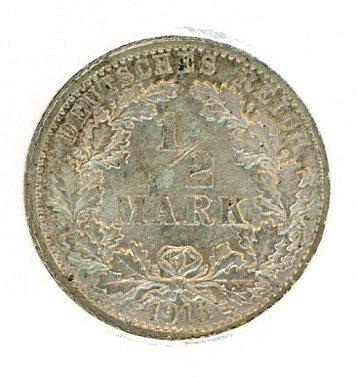 Thumbnail for 1915F German Silver Half Mark aUNC