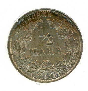 Thumbnail for 1915G German Silver Half Mark EF