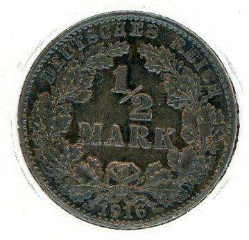 Thumbnail for 1916E German Silver Half Mark aUNC