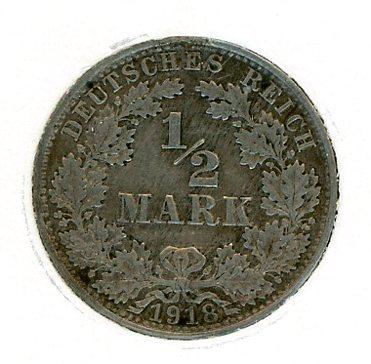 Thumbnail for 1918A German Silver Half Mark EF