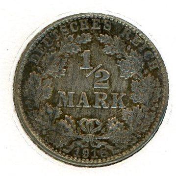 Thumbnail for 1918E German Silver Half Mark aUNC