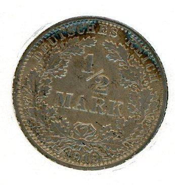 Thumbnail for 1919A German Silver Half Mark aUNC
