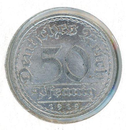 Thumbnail for 1919D German Silver 50 Pfennig aUNC