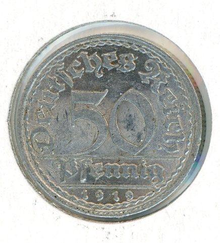Thumbnail for 1919F German Silver 50 Pfennig EF
