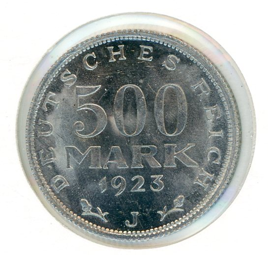 Thumbnail for 1923J German Silver 500 Mark aUNC