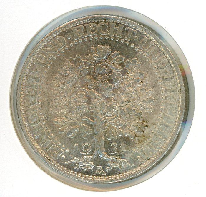 Thumbnail for 1931A German Silver Five Reichsmark aUNC