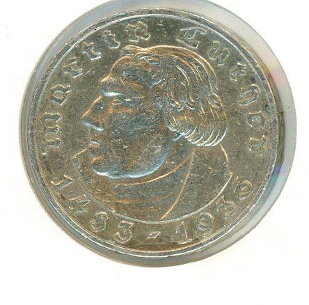 Thumbnail for 1933A German Silver Two Reichsmark gVF