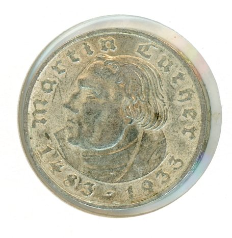 Thumbnail for 1933D German Silver Two Reichsmark EF
