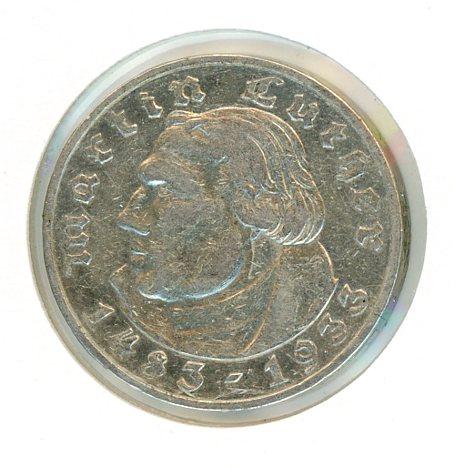 Thumbnail for 1933E German Silver Two Reichsmark gVF