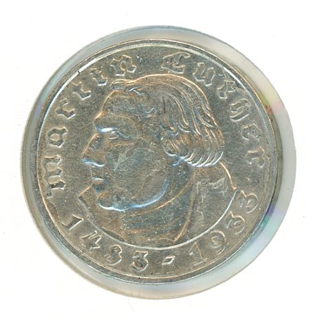 Thumbnail for 1933F German Silver Two Reichsmark gVF