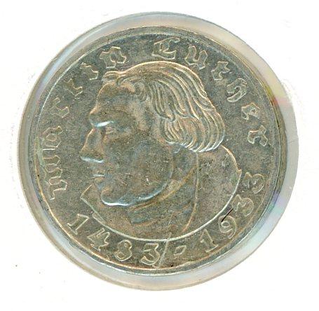 Thumbnail for 1933G German Silver Two Reichsmark gVF