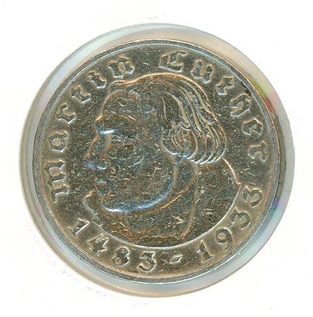 Thumbnail for 1933J German Silver Two Reichsmark gVF