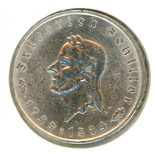 Thumbnail for 1934F German Silver Two Reichsmark gEF