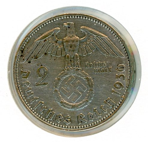 Thumbnail for 1936D German Silver Two Reichmark