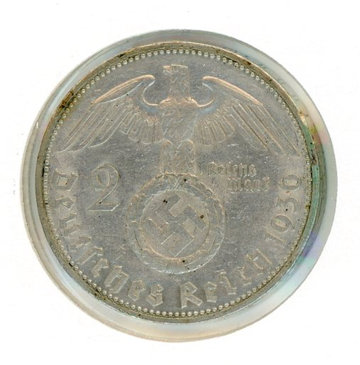 Thumbnail for 1936G German Silver Two Reichmark