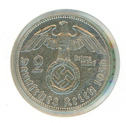 Thumbnail for 1936J German Silver Two Reichsmark