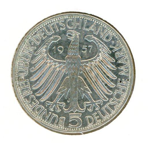 Thumbnail for 1957J German Silver Five Marks