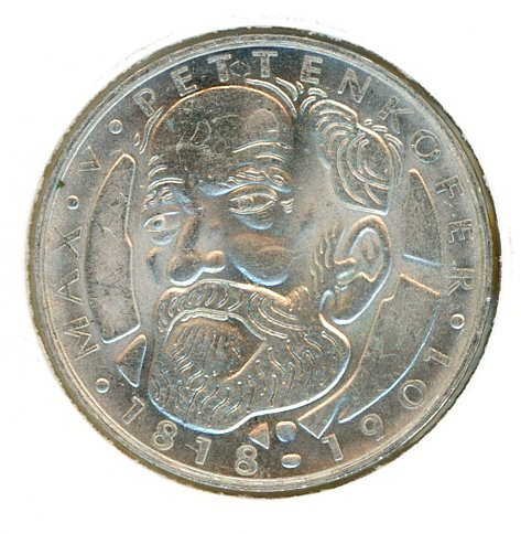 Thumbnail for 1968D German Silver Five Marks aUNC