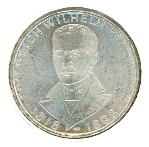 Thumbnail for 1968J German Silver Five Marks aUNC