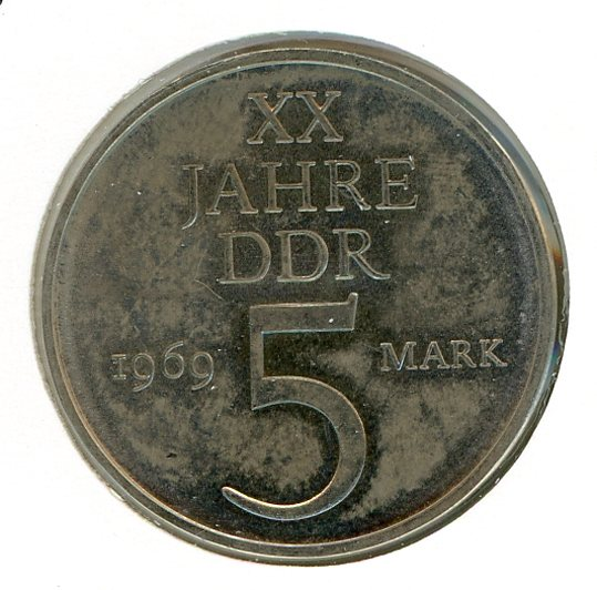 Thumbnail for 1969 DDR Five Mark Coin UNC