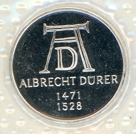 Thumbnail for 1971D German Silver Proof Five Mark Coin